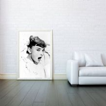 Audrey Hepburn Yawning Icon - Decorative Arts, Prints & Posters,Wall Art Print, Poster Any Size - Black and White Poster